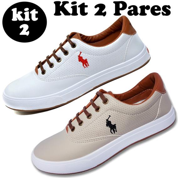 Kit 2 Pares - Tenis Masculino Sapato Sapatenis Polo Wey