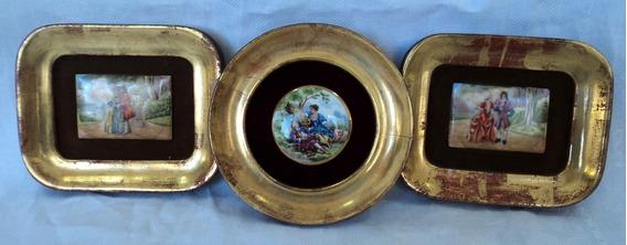 Lote De3 Antiguos Cuadritos Porcelana Pintado Mano Limoges