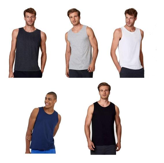 Kit 5 Camisetas Regata Masculina Lisa Básica Camisa Blusa