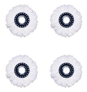 Set X4 Repuestos Para Mopa Redondo Universal Balde Escurridor Lampazo Giratorio Algodón Ultra Absorbente - 15,5 Cm