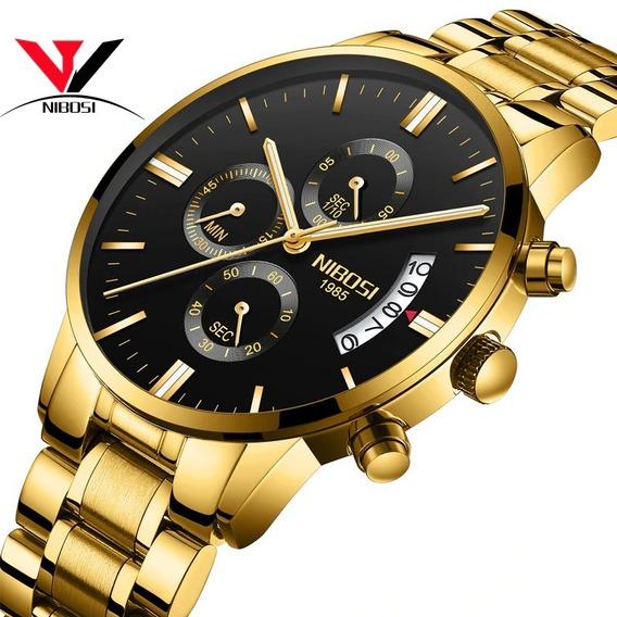 Relógio Nibosi Luxo Executivo Original Funcional Promoção