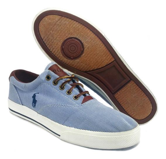 Tenis Polo Rayas Azul Blanco Hombre Casual Original