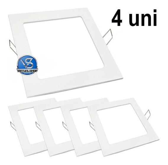 Kit 4 Painel Plafon 18w Luminaria Led Quadrado Embutir Slim