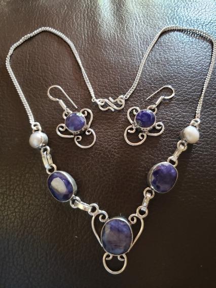 Collar, Plata 925, Zafiro, Perlas, Naturales, Azul, Único,