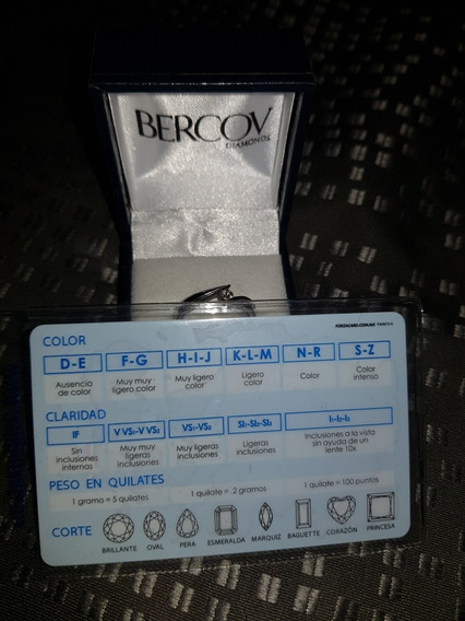 Anillo Marca Mercov De Oro Blanco 14 K Y Diamante Natural