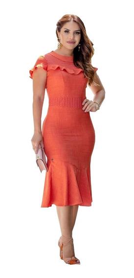 Vestido Midi Em Linho - Lançamento Kauly ( 2768 )