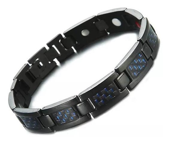 Pulseira Masculina Magnética De Aço Inox Bracelete Pro Saúde