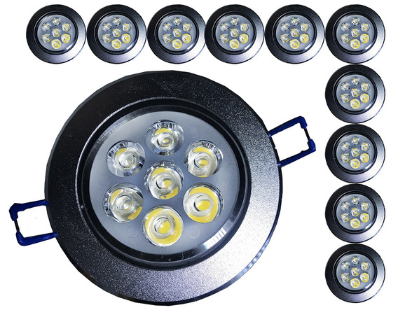 Kit 20 Spot Led 7w Redondo Carcaça Alumínio E Luz Quente M3