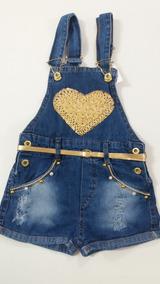 Jardineira Infantil Jeans Para Meninas Tamanho 4 6 E 8