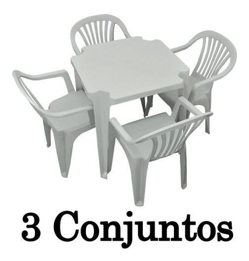 Conjunto Mesa E 4 Cadeiras Poltrona Plastico Branco 3 Jogos