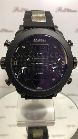 Relógio Masculino Pulso Boamigo Luxo Pulseira Silicone K4491