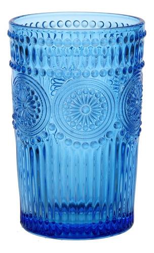 Vaso Vidrio Labrado 12.7x8.2cm Soles Celeste