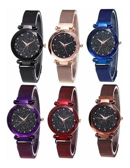 Relógio Feminino Bom Barato Pulseira Magnética Aço Ímã Luxo