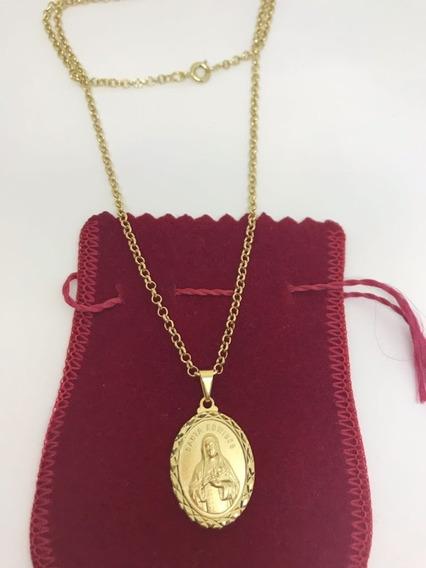 Colar Elo Português Com Medalha De Santa Edwiges Banhado
