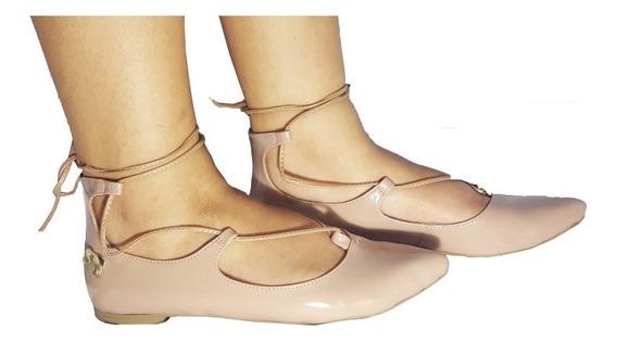 Sapatilhas Femininas Rosa Nude Fechada Bico Fino Sapatos Femininos Casual Confortavel Sapatilha De Amarrar