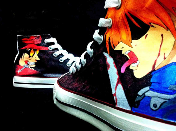 Zapatos Hellsing Anime Marca Collec Diseño Hecho A Mano