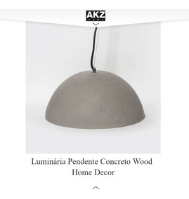 Luminária Concreto Pendente Wood Home Decor Design