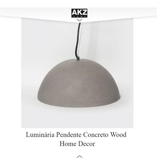Luminária Concreto Pendente Wood Home Decor Design