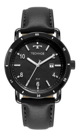 Relógio Technos Masculino 2115mus/2p Preto Couro Militar