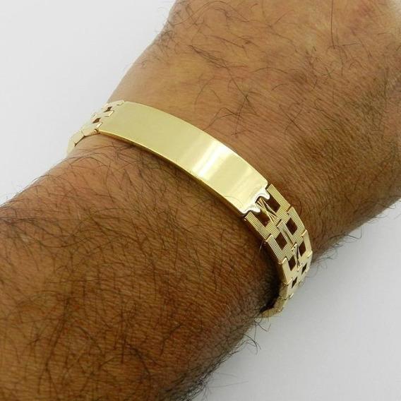 Pulseira Masculina 20cm 12mm Largura Folheado Ouro Pl367