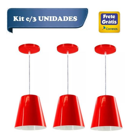 Kit C/3 Lustre Pendente Alumínio Cone Pequeno 17cm Vermelho