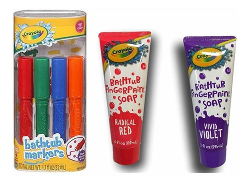 Marcadores De Bañera Crayola 4 Unidades + Jabón De Pintura D