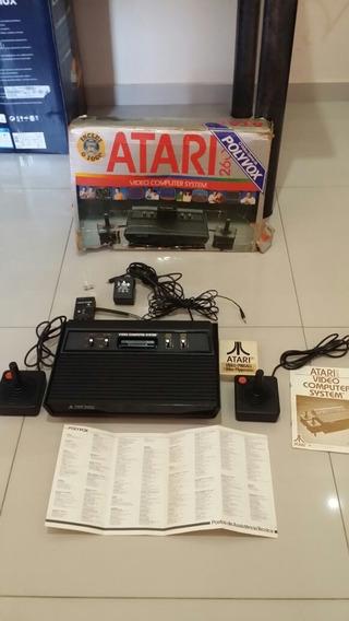 Lindo Atari 2600 Com Caixa 2 Controles E Cartucho Pimball