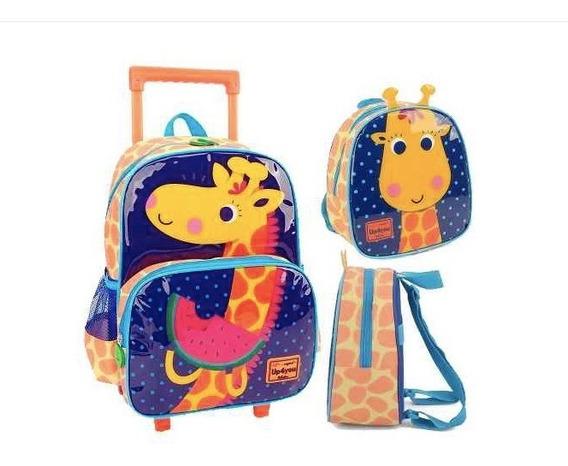 Mochilete Mochila Rodinha Infantil Escolar Girafa Lancheira