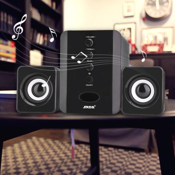 Negro Sada Mini Usb 2.1 Altavoz Combinado Con Cable Bass Mus