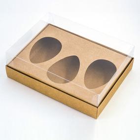 Caixa Premium Trio Para Ovo De Colher Kraft C/ 5 Un