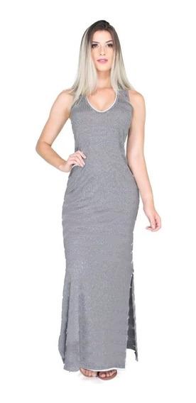 Vestido Longo Listrado Feminino Regata Moda Fenda Trend 271