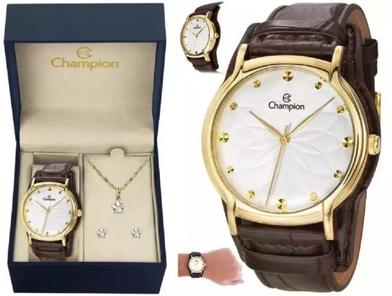 Kit Relógio Champion Feminino Pulseira Couro Marrom Cn20364w