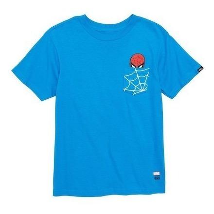 Playera Vans Edicion Marvel Spiderman Niño Azul Look Trendy