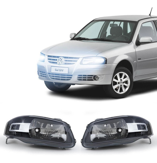 Farol Volkswagen Gol G4 2006 A 2009 Arteb Máscara Negra
