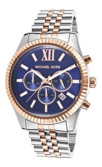 Relógio Michael Kors Mk8412 Lexington Prata Rose Azul Eua