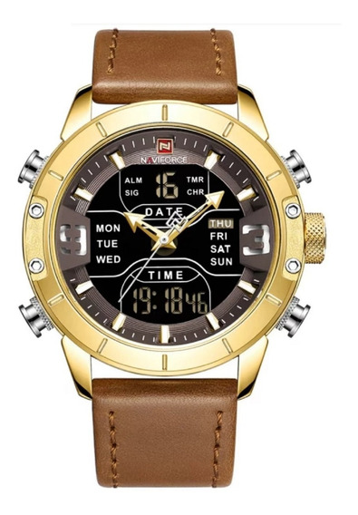 Relógio Masculino Naviforce 9153l Pulseira Couro Digital