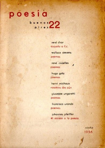 Revista Poesia Buenos Aires 22 - 1956 - Urondo Ungaretti