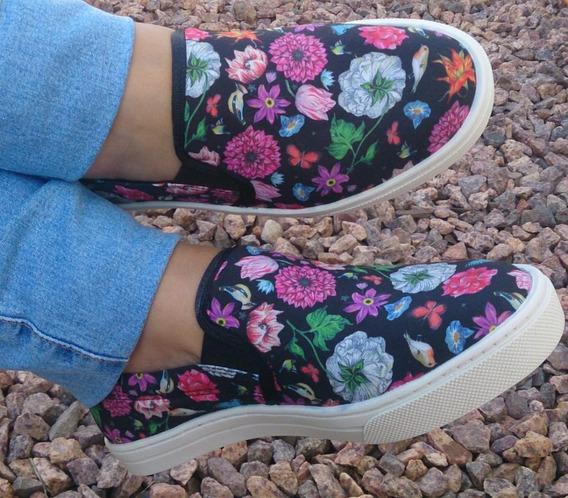 Tênis Feminino Slip On Iate Slim Preto Estampa Floral Oferta