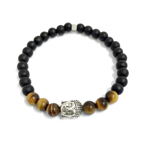 Pulseira Masculina Bracelete Biojoia Onix Buda Budismo
