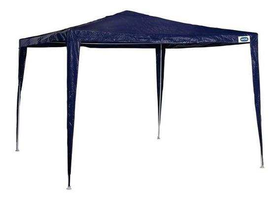 Gazebo Em Aço Com Cobertura De Ráfia 300x300cm Azul