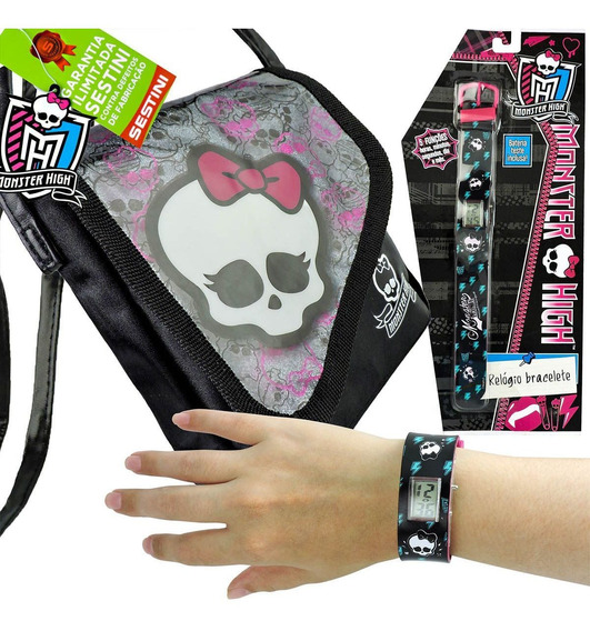 Relógio De Pulso Digital Monster High Mais Bolsa Skullete