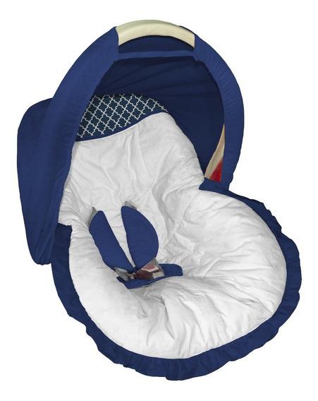 Capa Bebê Conforto Acolchoado Capota Branco E Azul Marinho