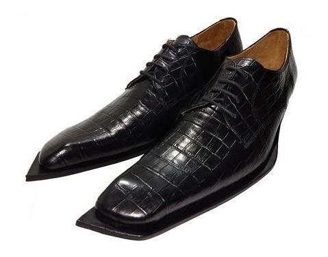Zapatos Italianos Punta Diagonal Croco Vacuno