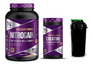 Combo Xtrenght Volumen - Nitrogain Creatina Proteina Shaker