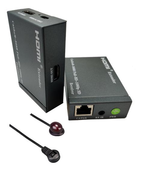 Extensor Hdmi Controle Remoto Ir Tv Cabo Rede Cat6 1080p