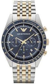 Relógio Emporio Armani Ar6088 Dois Tons Dial Azul