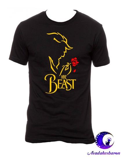 Camiseta Estampada Para Parejas La Bella Y La Bestia Disney