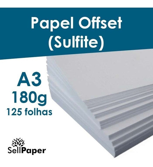 Papel Offset 180g 125 Folhas Formato A3