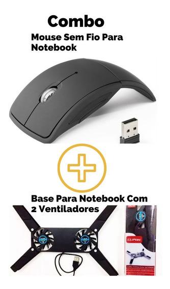 Mouse Dobravel Sem Fio Com Base Para Notebook Combo