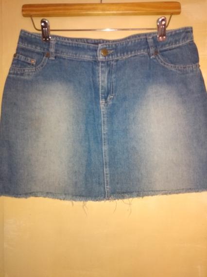 Pollera De Jeans Talle 40 C/ Flekos Excelente Estado Oferta